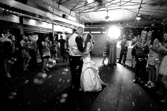 Black and white photograph of a newlywed couples first dance. Amateur wedding photography.
