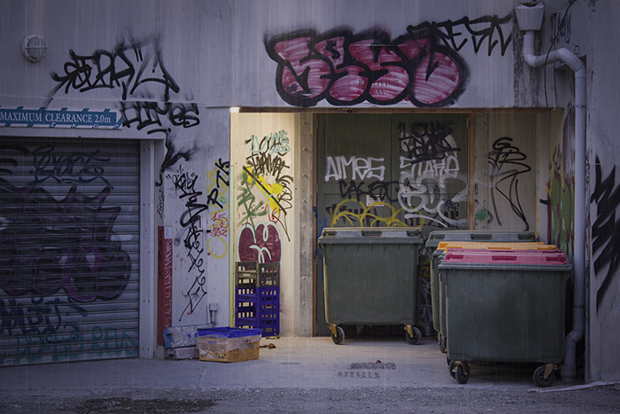 Creative street photography of buildings with graffiti and rubbish bins.