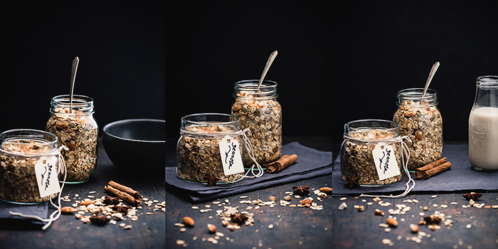 Food photography triptych of jars of chai spiced granola against a dark background.