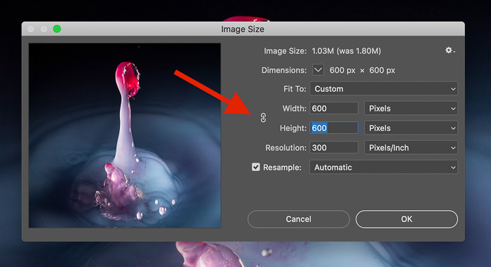How to keep the aspect ratio of an image when resizing in photoshop