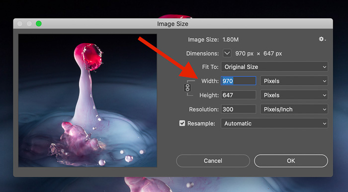 Screenshot of adjusting the resolution of an image in Photoshop