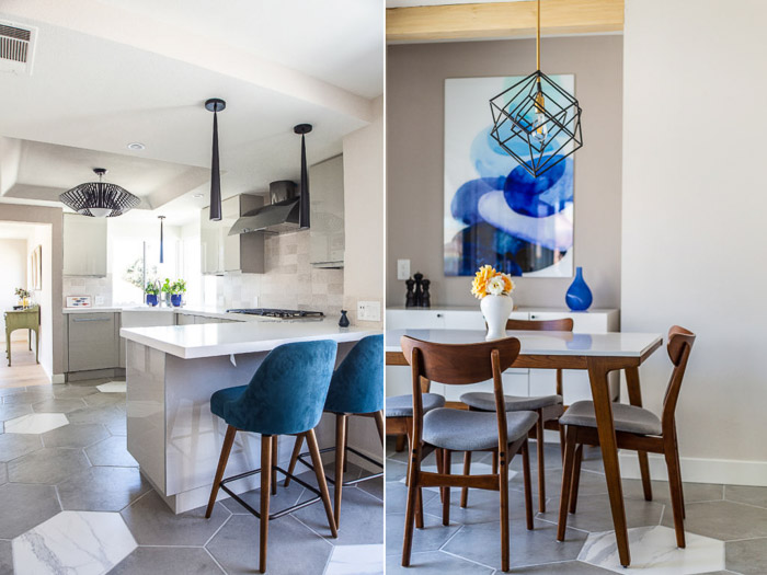 Diptych interior photography of a bright and airy kitchen scene, furniture and white walls.