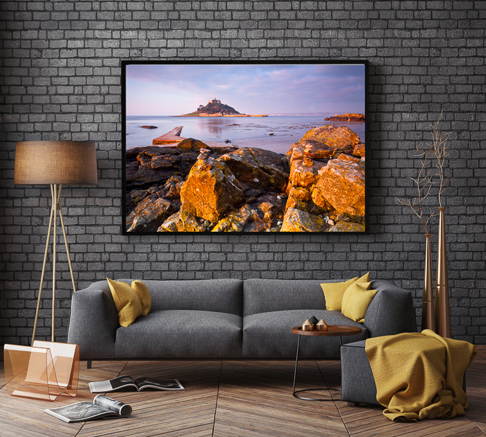 The interior of a living room with a large framed travel photography image - how to sell your travel photos