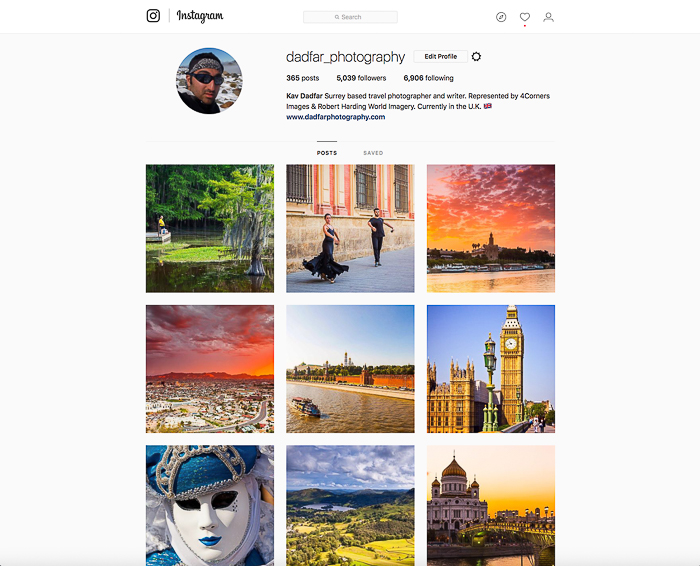 Screenshot of a photographers instagram page. Sell Your Travel Photography