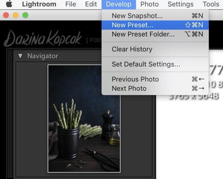 Saving presets on Adobe Lightroom. How to Use Lightroom for Editing Food Photography