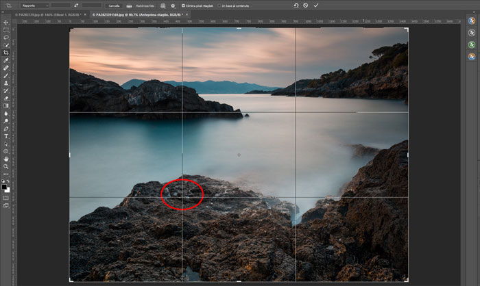 Photoshop interface using rule of thirds composition for long exposure landscapes