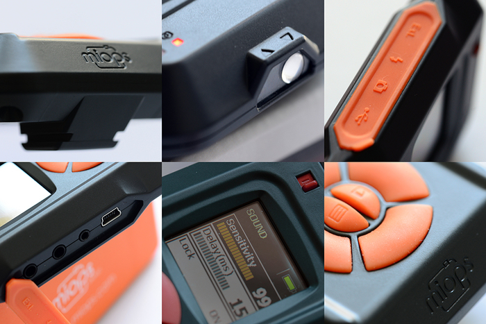 6 photo collage of a MIOPS Smart Trigger from different angles