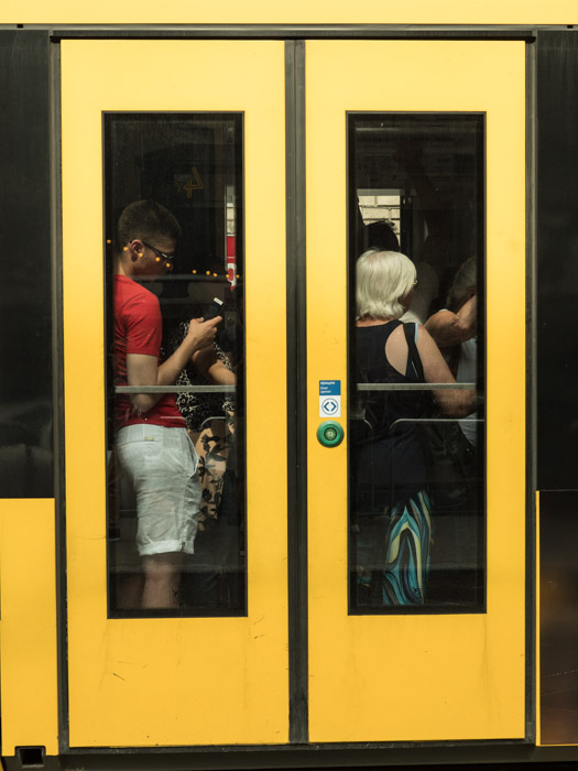 Street photography of a tram door in Budapest, taken with a Panasonic gh5 by Craig Hull