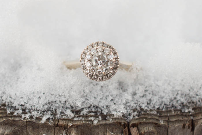close up photo of engagement ring in ice.
