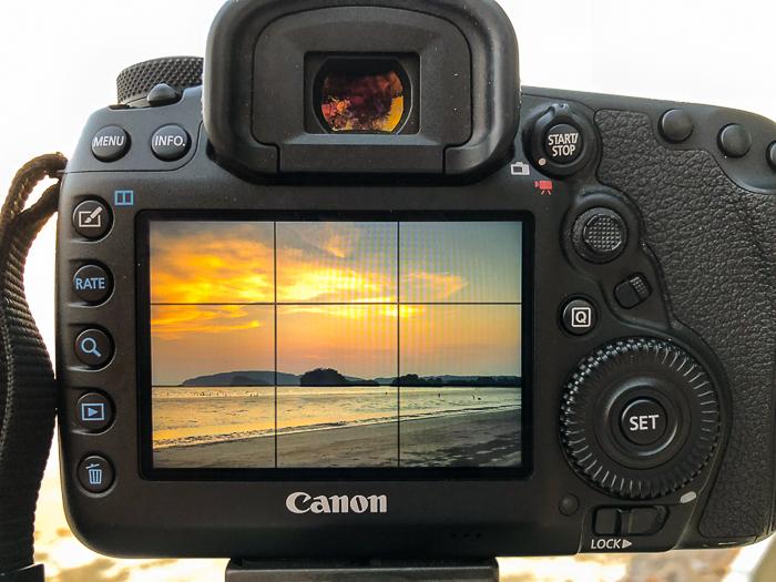 A camera set up for blue hour landscape photography