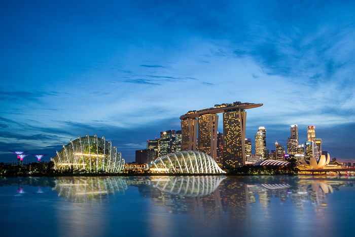 Singapore skyline at Marina Bay during blue hour