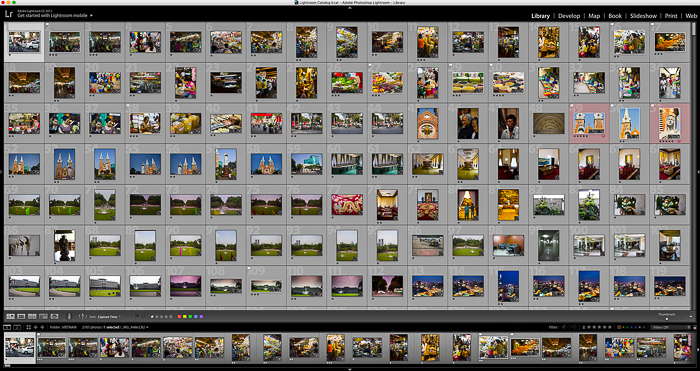 Post-production on-screen interface. Editing blue hour photography