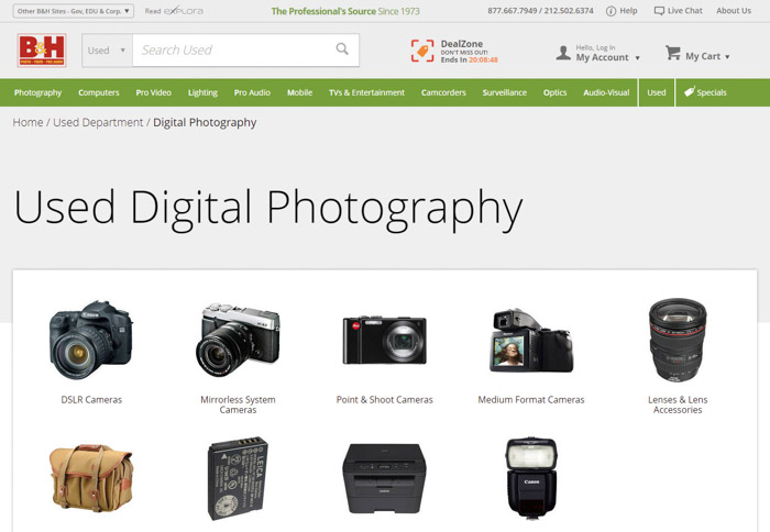 B&H website screenshot of Used digital Photography Items for sale. Buying used lenses and used cameras.