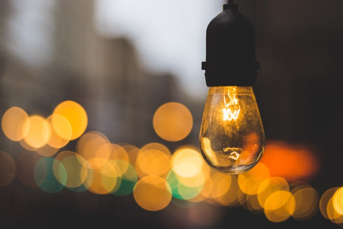 A light bulb in the foreground with beautiful bokeh background. depth of field photography.
