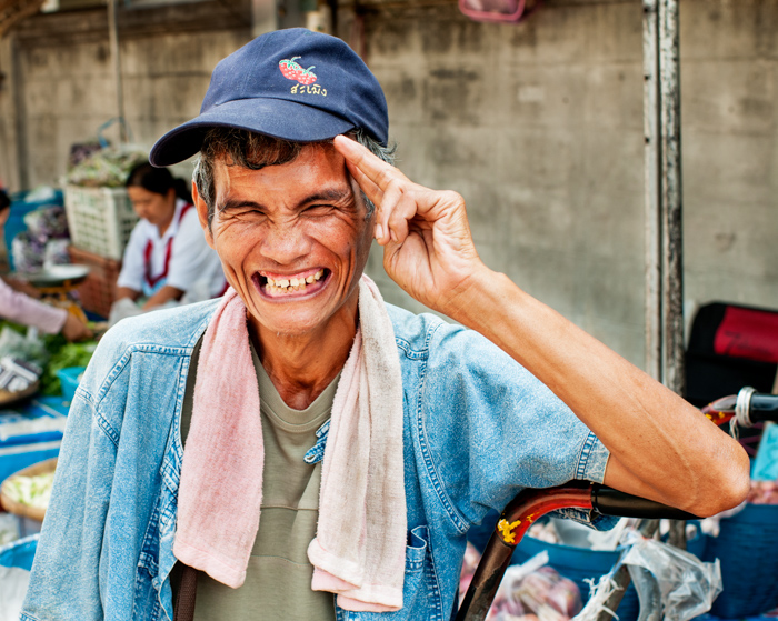 Documentary photography portrait of a porter in a Market in Chiang Mai, Thailand.