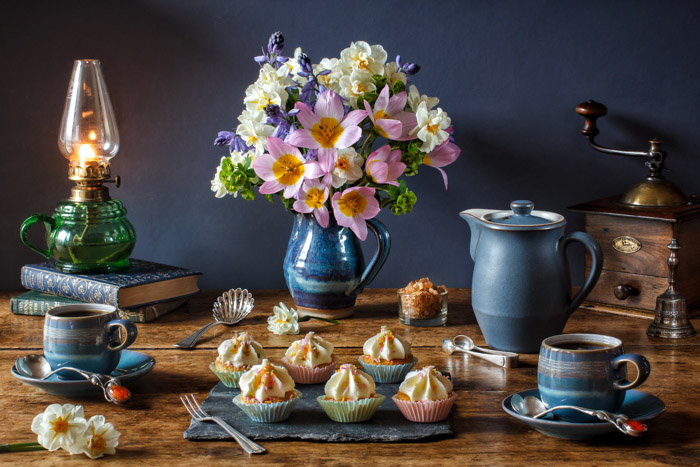 Still life photography of an afternoon tea display by Marcus Rodriguez. Famous photographers to follow.
