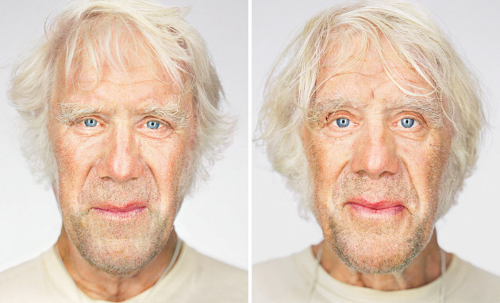 Diptych portrait photography of male twins by Martin Schoeller. Famous photographers to follow.