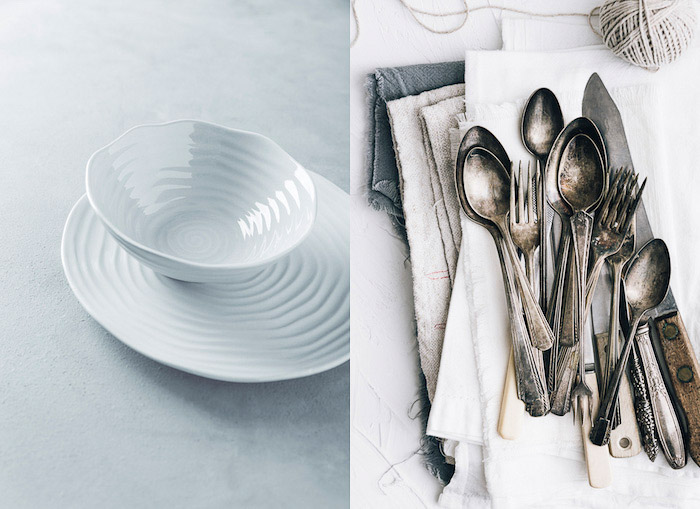 Diptych food photography of cutlery