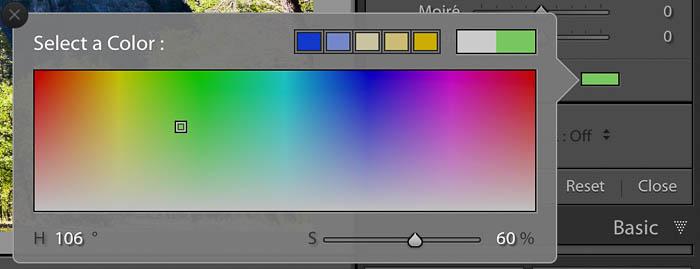 Captura de pantalla de Lightroom del panel de herramientas de filtro graduado: efectos de color para los filtros de Lightroom