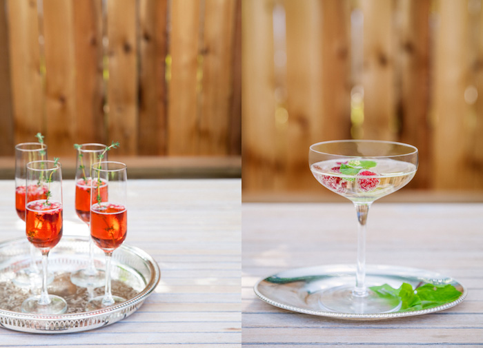 Food photography diptych showing cocktails on a tray against a wooden background.