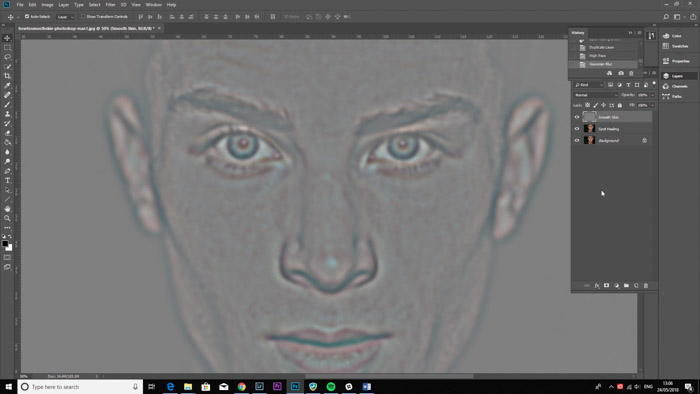 Screenshot of photoshop interface for smooth skin photoshop tutorial.