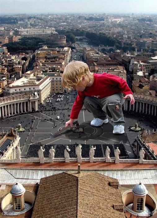 A post edited photo of a child juxtaposed onto a photo of a city.