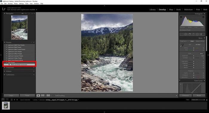 Screenshot of using lightroom presets - lightroom classic vs lightroom cc
