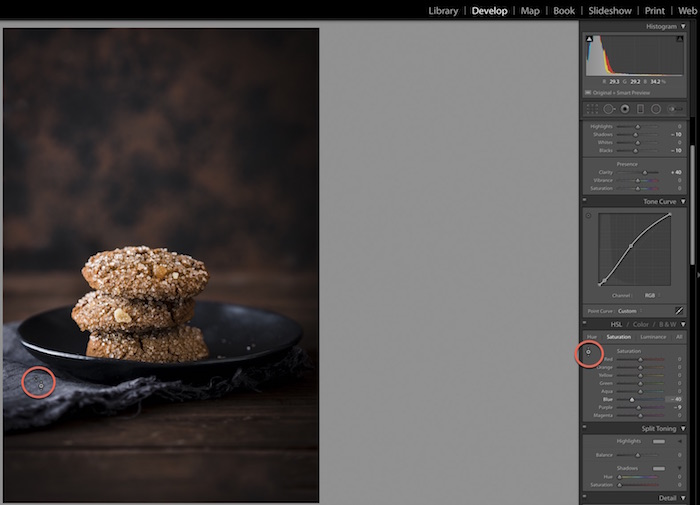 Shot of Adobe Lightroom interface, editing a photo of ginger cookies. Using Lightroom for Food Photography Editing.