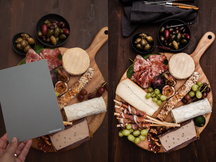 Diptych of a food board on a wooden table, demonstrating shooting with a grey card. Using Lightroom for Food Photography Editing.