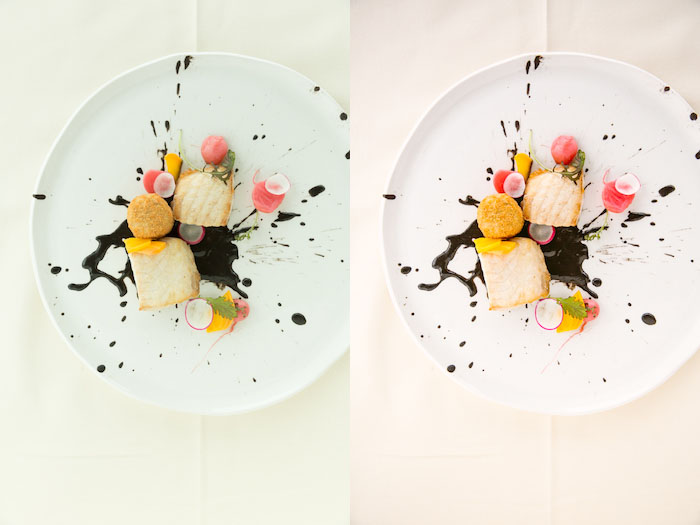 Diptych food photography of a white plate with a creative dessert, the same subject with different lighting. Using Lightroom for Food Photography Editing.