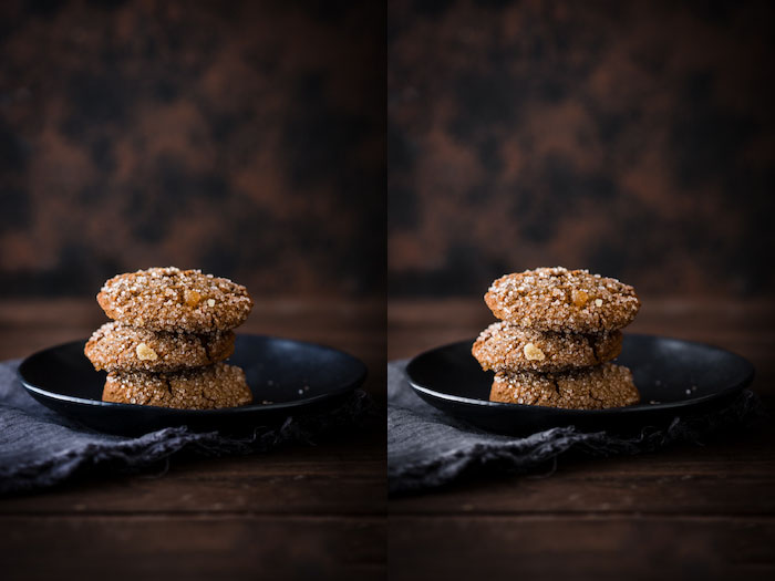 Diptych food photography of a plate of ginger cookies on a wooden table and brown background. The same image with different lighting. Using Lightroom for Food Photography Editing.