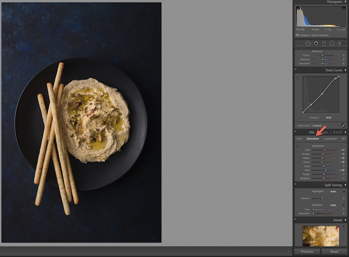 Shot of Adobe Lightroom interface. Using Lightroom for Food Photography Editing.