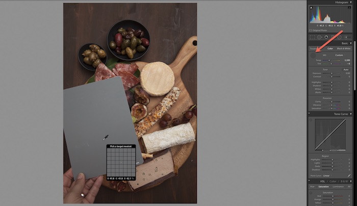 Adobe lightroom interface with image of a food board and grey card.