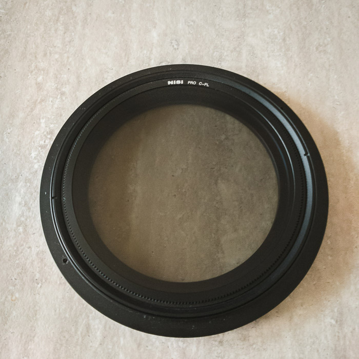 Close up image of a NiSi v5 CPL polariser filter for long exposure photography.