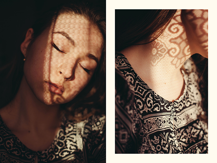 diptych photo collage of a girl with lace material casting dreamy shadows on her face