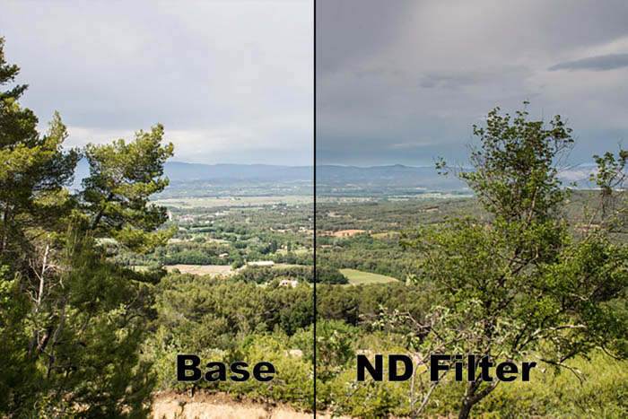 A diptych image of a luscious landscape, comparing the base image and one taken with a nd filter
