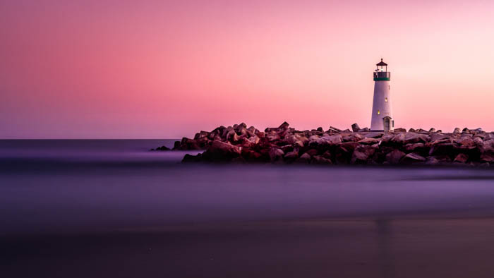 A beautiful evening photo of a lighthouse shot with a nd filter