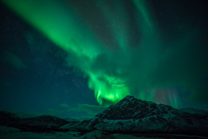 Stunning landscape with northern lights over Mt. Dillon in the Brooks Range of northern Alaska..