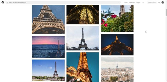 9 photo grid of the Eiffel tour. Photo essays examples.