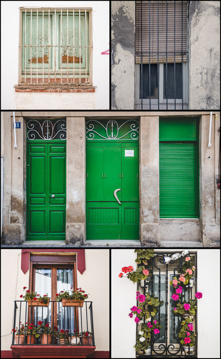 5 photo collage of different window and door frames