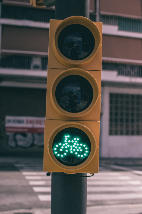 Close up of traffic lights showing the green bicycle symbol - be aware of your surroundings on your photography walk!