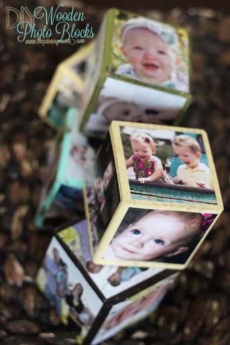 A personalised set of photo blocks - photo gifts - https://www.thepinningmama.com/diy-wooden-photo-blocks/