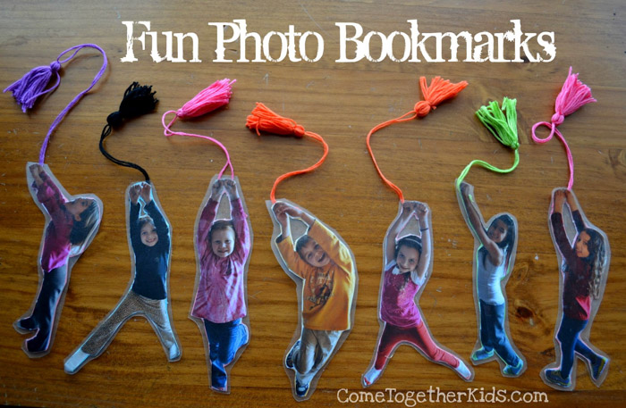 A personalised set of fun photo bookmarks - photo gifts - http://www.cometogetherkids.com/2012/03/fun-photo-bookmarks.html