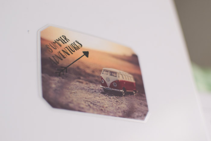 A unique photo gift of a magnet of a Volkswagen van with the text 'Summer Adventures'. Creative photography ideas.