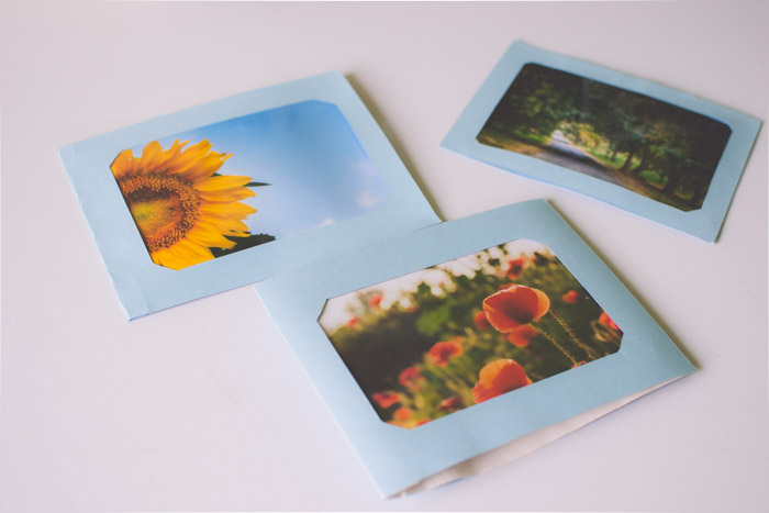 A photo of 3 photo cards on white background. Unique photo gifts ideas.