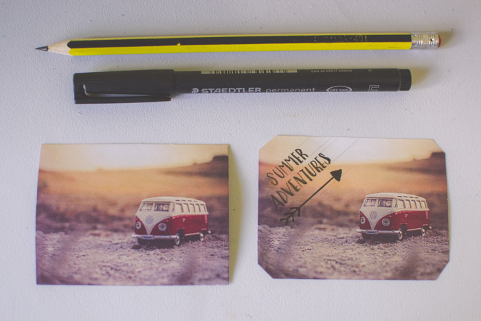 Two photographs of a Volkswagen van beside a pen and pencil . Creative photography ideas.