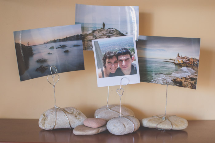 Stone photo holders with 4 photographs. Unique photo gifts ideas.