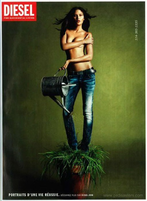 'Photoshopped' advertising image of a girl in blue jeans watering the flowerpot she is standing in. difference between lightroom and photoshop