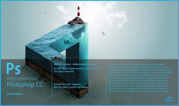 Screenshot of Photoshop CC editing software. Lightroom or Photoshop
