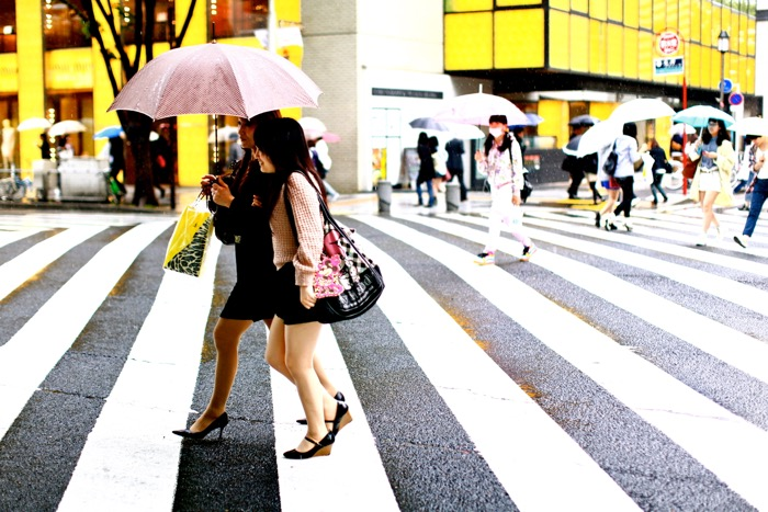 Travel photography of two women with umbrellas crossing the street, busy street scene background. Street photography accessories.
